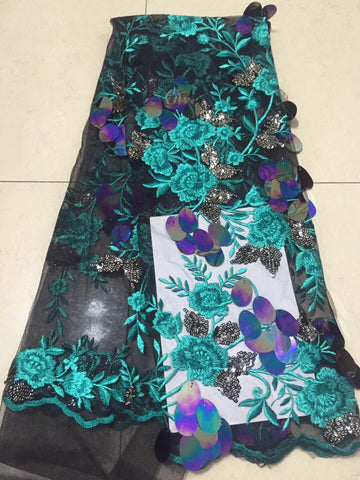 French Net Lace Fabric 2018 Latest african guipure lace fabric with embroidery mesh tulle green cord Sequins lace fabric CD27271