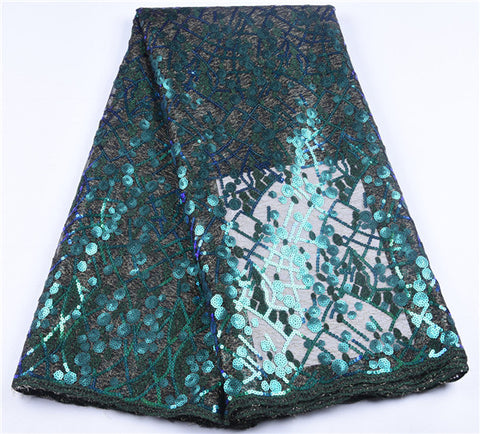 Image of French Sequins Lace Fabric 2019 African Tulle Lace Fabric High Quality Nigerian Sequins Lace Fabric For Women Wedding PartyA1649