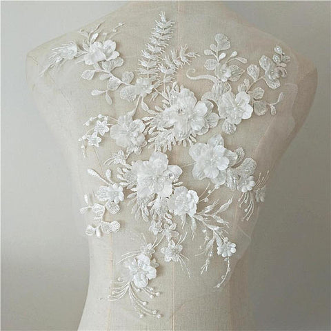 French grey 3D lace fabric with 3d flowers, heavy bead lace fabric, beading lace fabric by the yard for haute couture