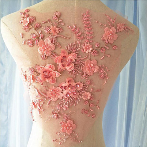 Image of French grey 3D lace fabric with 3d flowers, heavy bead lace fabric, beading lace fabric by the yard for haute couture