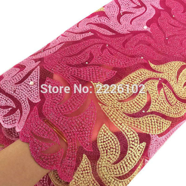 Gold hand cut lace fabric new arrivals african lace fabric 2016 alibaba express purple pink red fancy embroidery fabric
