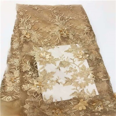Good quality 3D flowers lace fabric  French  lace fabric  with stones  African  stone Tulle lace fabric  HX746-2