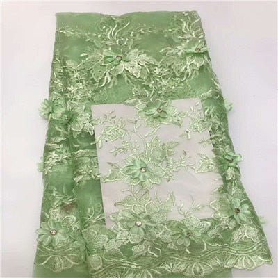 Image of Good quality 3D flowers lace fabric  French  lace fabric  with stones  African  stone Tulle lace fabric  HX746-2