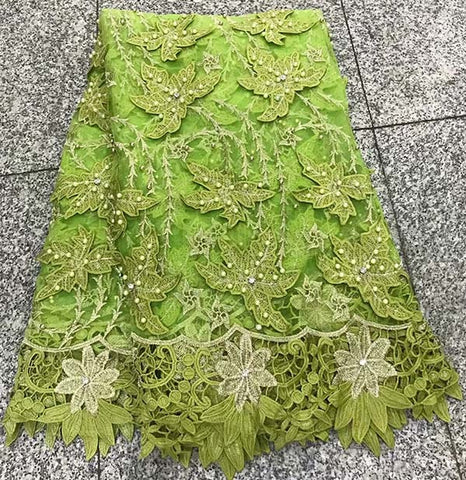 Image of Green African Lace Fabric 2018 Embroidered Nigerian Laces Fabric Bridal High Quality French 3D Tulle Lace Fabric For Women dress