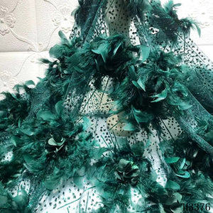 Green Feather Embroidery African Tulle lace fabric 2020 3D Flower Mesh fabric High Quality French lace for Wedding Dress HJ3376
