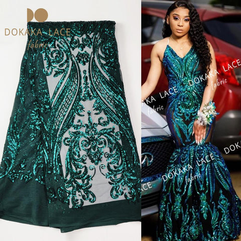 Image of Green Sequins African French Net Lace Fabric For Nigeria Noble Lady Prom Dress Sewing Laces High Qulaity Classical Sequined Lace