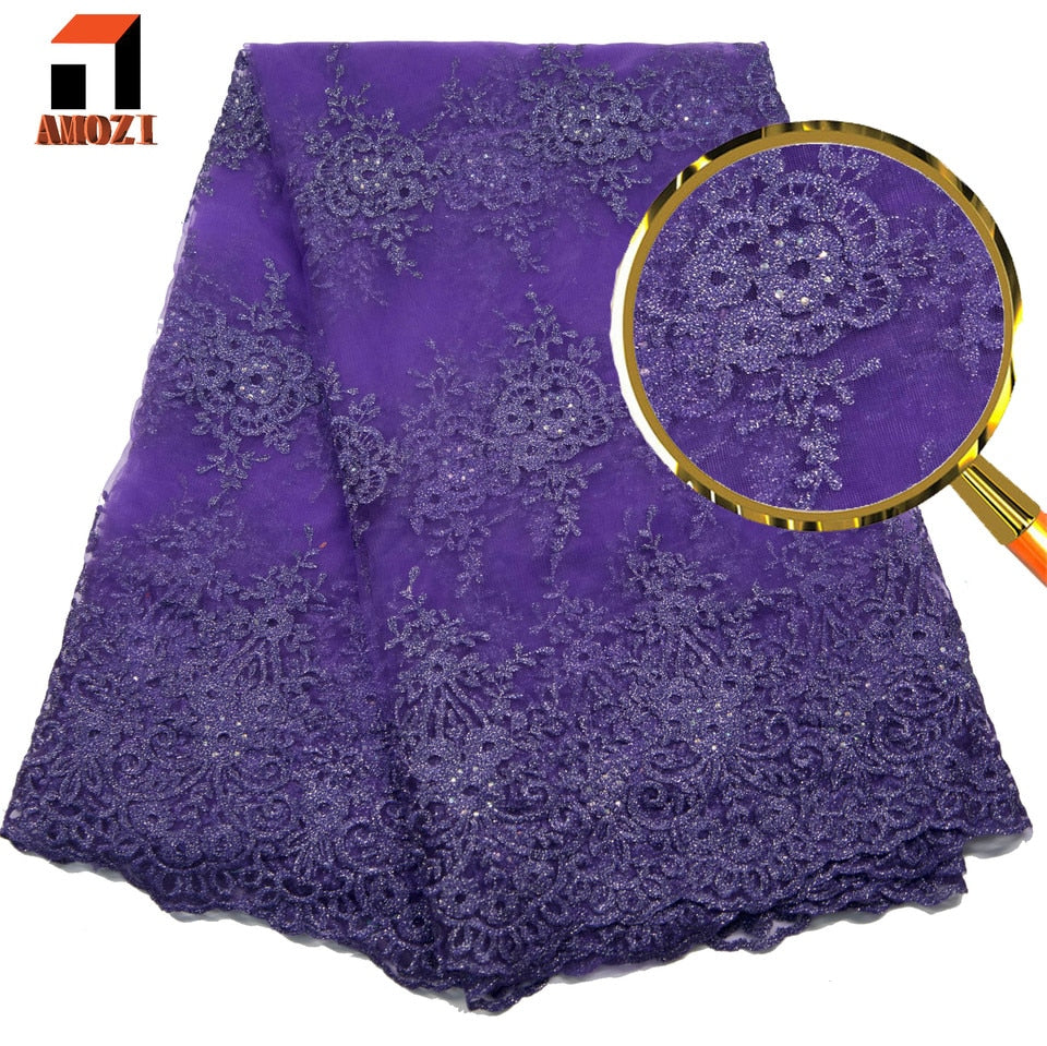 Green and purple 2019 high quality Nigerian tulle lace fabric latest african lace mesh fabric with beaded bride french net lace