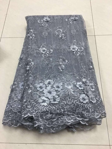 Image of Grey Embroidered Tulle Lace Fabric, French Lace Applique Fabric For Wedding, African Nigerian Beaded 3D Flower Lace Fabric HX17E