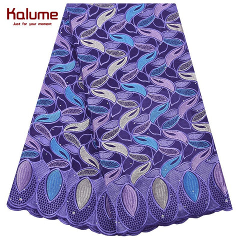 Kalume High Quality African Swiss Cotton Lace Fabric Embroidery Nigerian Swiss Voile Lace Fabric With Stones For Sewing F2046