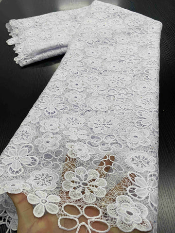 Image of Nigerian Lace Fabrics 2020 High Quality Lace African Lace Fabric Cotton Lace Guipure Cord Lace Fabric For Party Sewing YA3411B-4