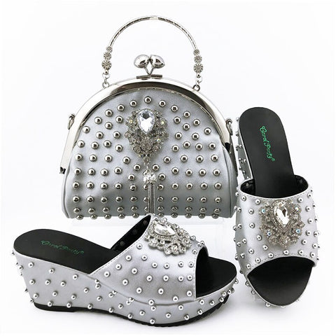 Silver Color Fashion wedge heel women shoes with handbags Italian Women High Quality with Shining in Rivets For Wedding