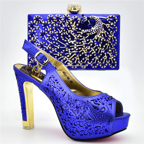 New Arrival Italian Shoes with Matching Bags Set Decorated with Rhinestone Shoes Woman High Heel African Party Shoe with Bag Set