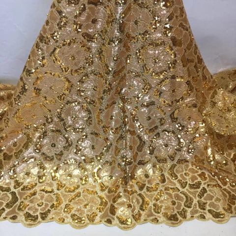 Image of African Sequins Net Mesh Lace Fabric High Quality Lace 2020  Voile Lace French Tulle Lace Nigerian Bead Lace Fabrics For Wedding