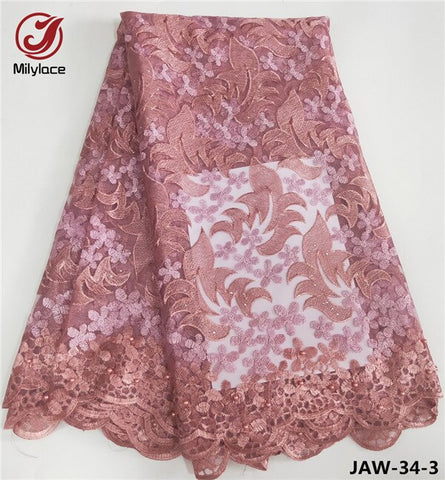 Millylace  Nigerian laces fabrics 2019 tulle African lace fabric with beads pink french lace fabric for 5 yards  JAW-34