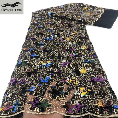 Image of Madison Latest African Velvet Tulle Lace Fabrics High Quality 2020 Nigerian Net Lace Fabric with Organza Sequins For Women