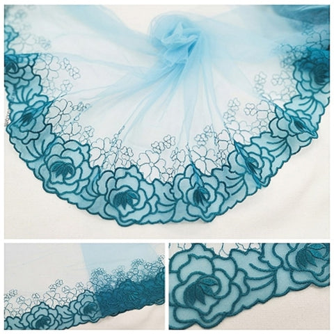 Image of 2Meters Mesh Tulle Embroidered Lace Fabric Lake Green Rose Floral Trim For Bra Lingerie Underwear Doll's Dress Ribbons