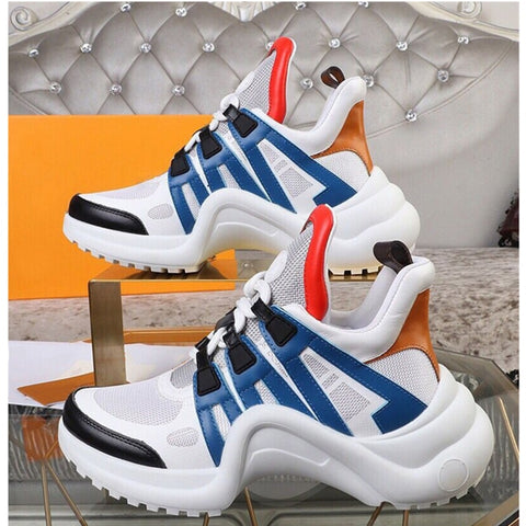 Image of Brand Design Sneakers for Women Mesh Breathable Lace Up Sport Shoes Women's Leather Vulcanize Shoes 2020 Street Arched Sneakers