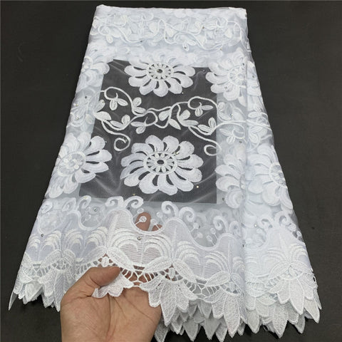 Image of MIQIER High Quality African Nigerian Tulle Lace Fabric Embroidery Milk Silk Voile Cord French Dress Prom Party Gown 2.5yards