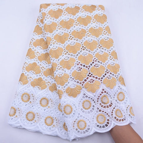 Image of Latest Design 100% Cotton African Lace Fabric 2020 High Quality Lace Pure White Nigerian Swiss Voile Lace In Switzerland S1944