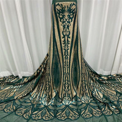 Image of Latest African Lace Fabric High Quality French Net Embroidery Multicolor Sequins Tulle Lace Fabric For Nigerian Party Dress