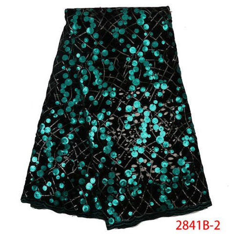 Latest Nigerian Lace Fabric 2019 High Quality Luxury Fabrics With Sequins Lace Fabric For Evening Dresses Trims Sewing GD2841B-2