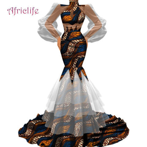 New design Women Elegant Bodycon High qualityTutu Tulle Gauze Patchwork African Fabric Wedding Party Skirt Dresses WY4720