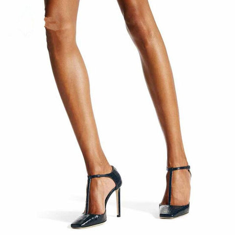 Image of 2020 Summer Women Shoes Square Toe T Strap Stiletto High Heel Sandals Concise Cover Heel Shoes Fashion European Elegant Shoes