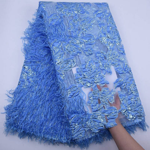 Latest French Lace Fabric 2020 High Quality Lace Fluffy Feather African Lace Fabric Tulle Mesh Laces For Wedding Dresses S1789