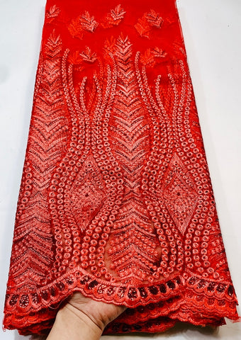 Image of French Net Lace Fabric 2021 Latest African Fabric With Embroidery Mesh Tulle Sequins Lace Fabric High quality Nigerian VGY004