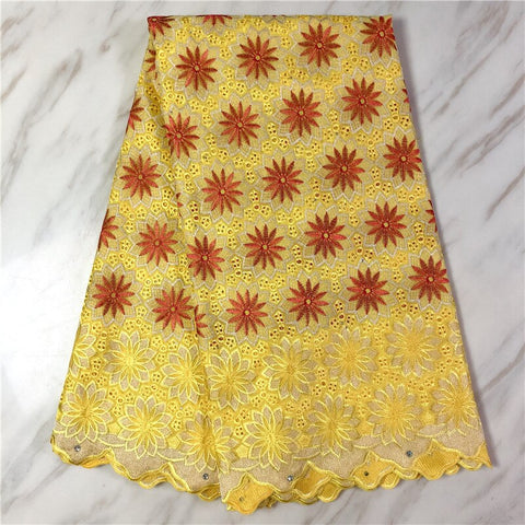 2020 High Quality African Swiss Voile Lace Fabric With Stones 5 Yards Soft Embroidery Dry Voile Lace Materials In Switzerland