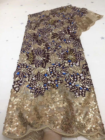 Image of Hot Sale gold purple African Embroidery Sequins Organza French Net Nigerian sequin Mesh Tulle Lace Fabric For Women Dress FDC114