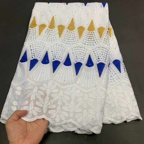 MIQIER High Quality African Nigerian Tulle Lace Fabric Cotton Embroidery Wedding Party Dress Swiss Golden White 2.5Yards Latest