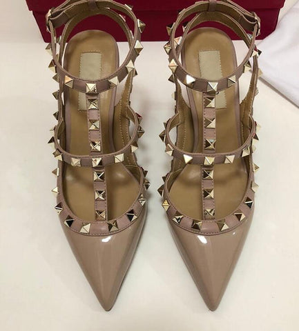 Image of Designer Luxry Summer Women High Heel Pointed Sandals With Rivets Genuine Leather 6cm 8cm 10cm Lady Wedding Shoes 34-43 Dust Bag
