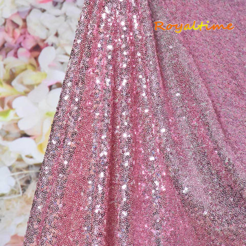 Royaltime Shimmer Rose Gold Sequin Fabric By The 0.5 Yard Two Way Stretch Embroidered Mesh African Lace Fabric for Dress Sewing
