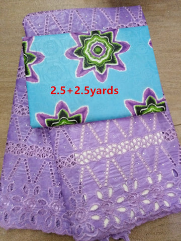 2.5+2.5yards  stones eyelet bazin riche lace fabric  with flowers printing  african getnzer lace fabric for dress  A32AP266