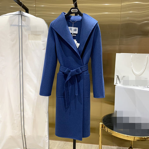 Women's Coat Mid-length Cashmere Coat Autumn And Winter Lace Camel Coat Water Ripple Leisure High-end Blue Red Coat