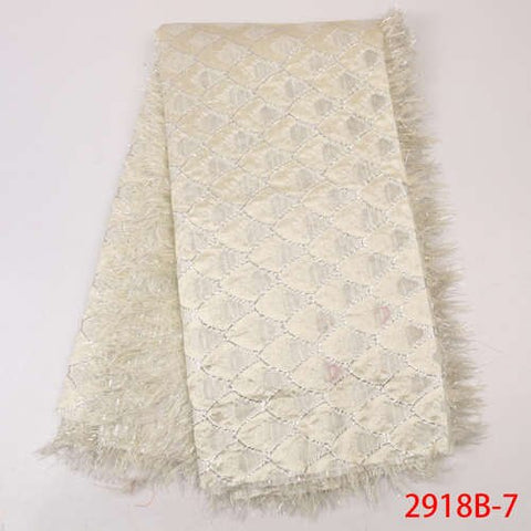Image of Most Popular Brocade Lace Fabric 2019 High Quality African Jacquard Lace Nigeria Lace Fabric For Women Party Dresses GD2918B-8