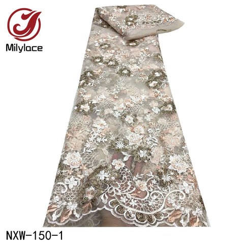 Milylace African Sequins Lace Fabric 2020 High Quality French Sequins Tulle Laces Nigeria Laces Fabrics for  Dresses NXW-150