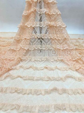 Image of 2020 new style lace embroidered net lace fabrics Nigeria party dress sewing lace French laces fabrics tulle laces