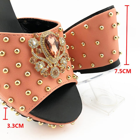Image of Silver Color Fashion wedge heel women shoes with handbags Italian Women High Quality with Shining in Rivets For Wedding