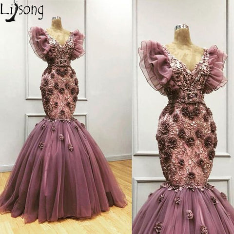 Elegant Purple Mermaid Evening Dresses Handmade Flowers V Neck Appliqued Arabic Formal Prom Dress Plus Size Custom Made