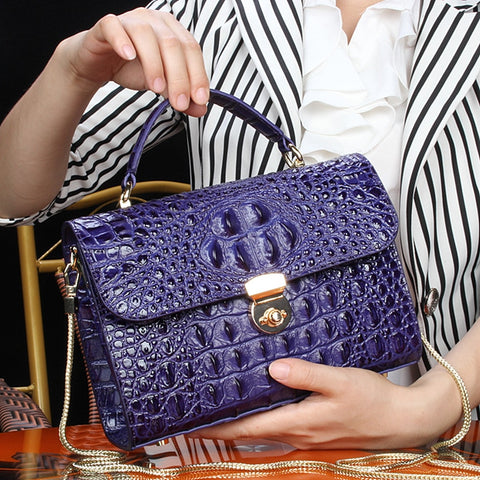 Image of Crocodile Single Shoulder Satchel Small Square Package luxury handbags women messenger crossbody ladies hand bags designer femme