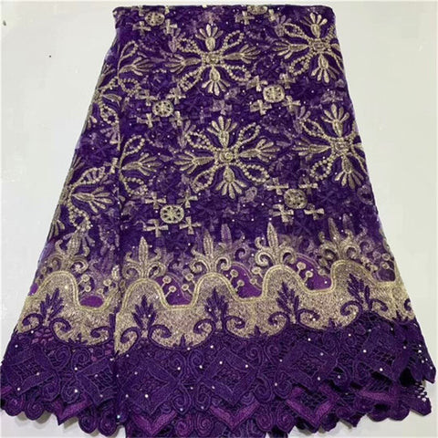 Image of Purple Velvet Lace Fabric Embroidery nigerian Lace Fabric 2021 red/gold High Quality Lace Wedding Sequin African lace Fabric