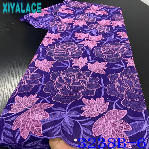 Image of Purple African Lace Fabric 2020 New Embroidery Fabric High Quality Swiss Voile Lace Nigerian Cotton Lace for Dresses KS3238B