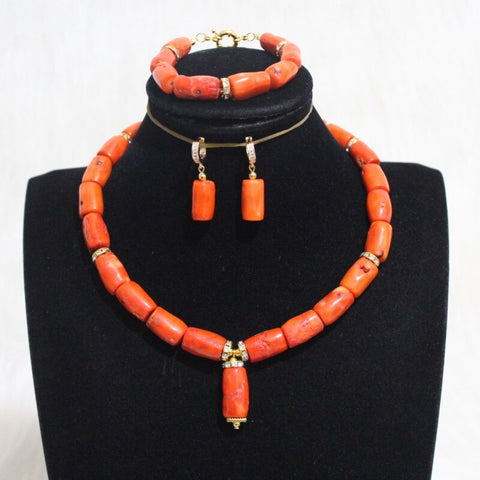 4UJewelry One Row Choker Coral Beads Jewelry Set Including Bracelelt +Earrings +Necklace Orange / Red / White Color Bridal Set