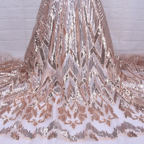 Image of Nigerian gold tulle sequins embroidery Lace Fabric 2019 High Quality African dry voile Lace Fabric for French Happy party