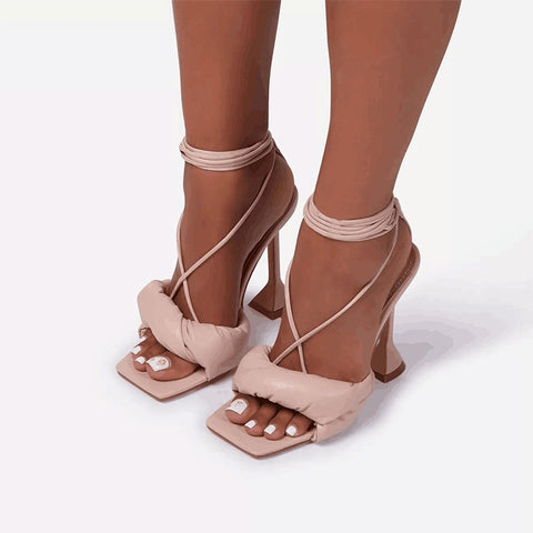 Image of Women Sandals Sexy Summer Shoes Gladiator Clip Toe High Heels Bandage Buckle Strap Pumps Squre Toe Ladies Party Fashion Stiletto