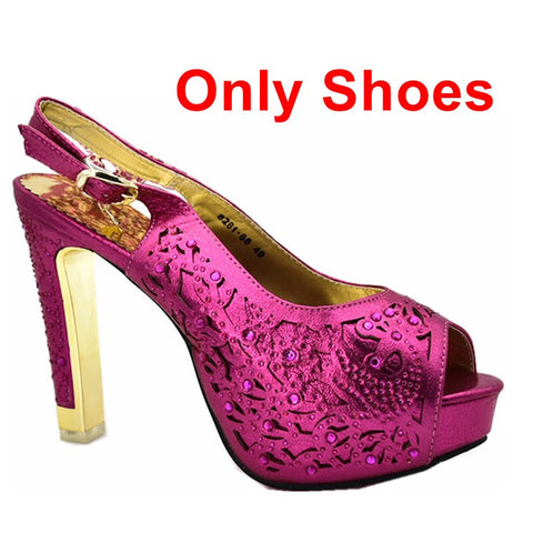 Image of New Arrival Italian Shoes with Matching Bags Set Decorated with Rhinestone Shoes Woman High Heel African Party Shoe with Bag Set