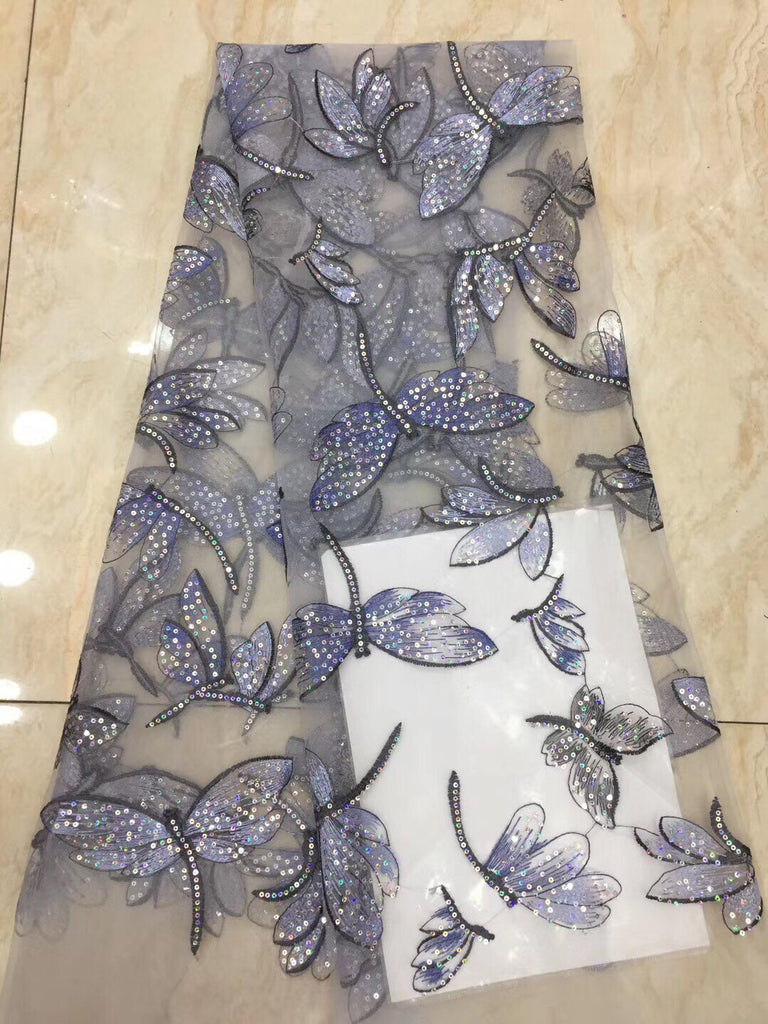 African Lace Fabric 2020 High Quality Embroidered Sequins Dragonfly La Lace Square