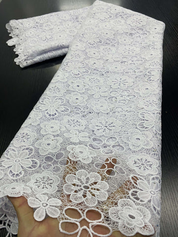 Nigerian Lace Fabrics 2020 High Quality Lace African Lace Fabric Cotton Lace Guipure Cord Lace Fabric For Party Sewing YA3411B-4